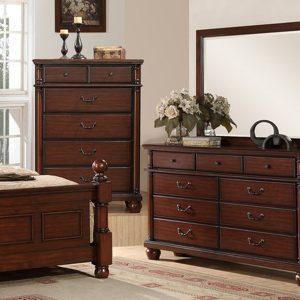 BN-BR93 Dark Cherry Finish Classic Bedroom With Storage