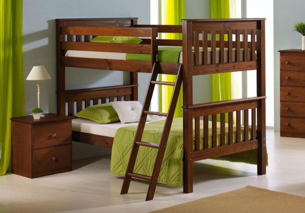 BN-BB18 CHEAP WOODEN BUNK BED IN VIETNAM WITH TWIN/TWIN