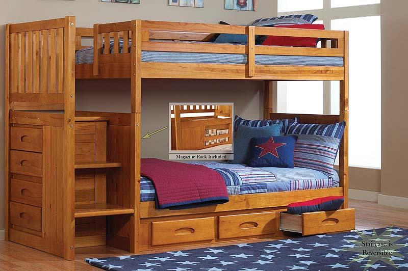 BN-BB24 WOODEN BUNK BED WITH STAIRWAY CHEST