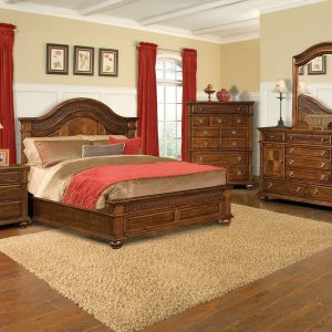 BN-BR06 Rich Cherry Elegant Classic Bedroom w/Hand Carving Details