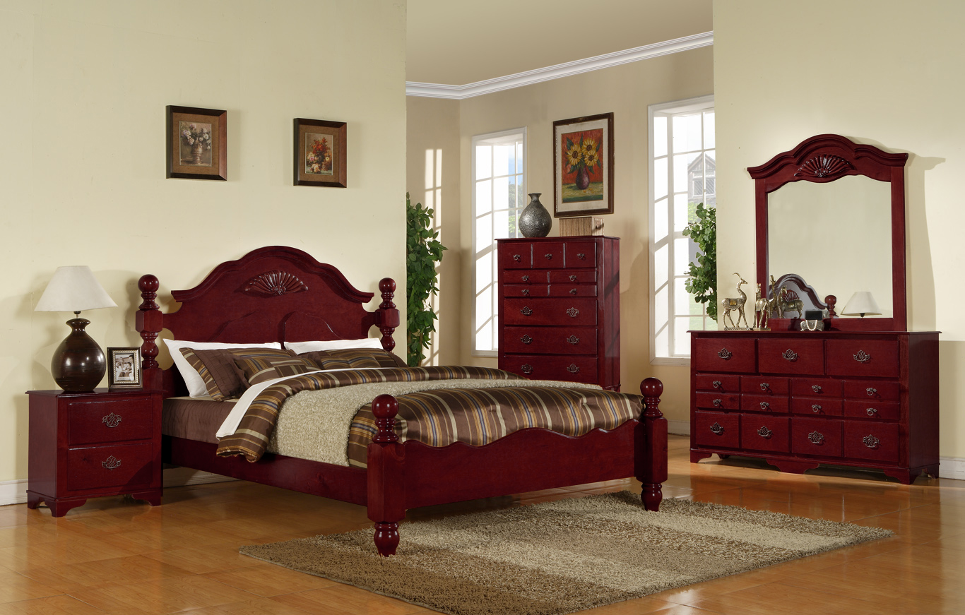 BN BR09 Dark Cherry Bedroom Set