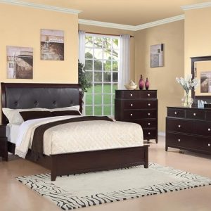 BN-BR12 Modern Bedroom Collections w/ Tufted Leather Heaboard