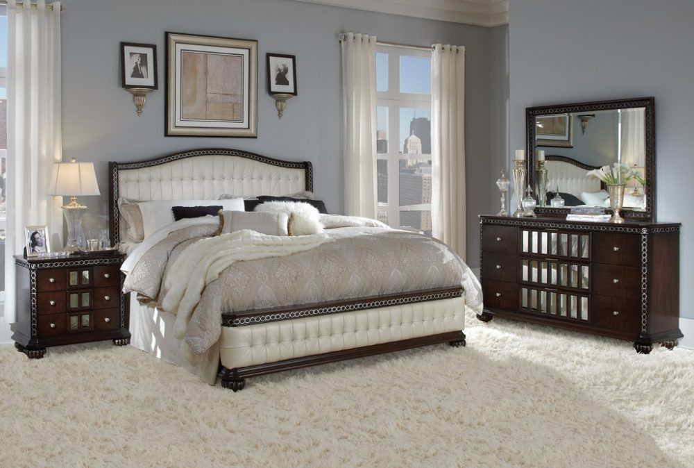 BN-BR25 Best Sell Bedroom Collections W/ Tufted Fabric Heaboard