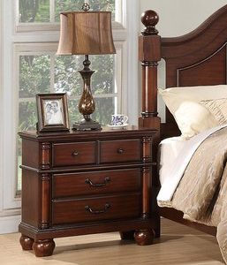 BN-BR93 Dark Cherry Finish Classic Bedroom With Storage