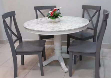 BN-DN56 ROUND DINING TABLE WITH MARBLE TOP