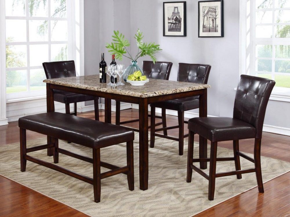 BN-DN57 SQUARE DINING ROOM FURNITURE W/ LEATHER SEAT & BACK